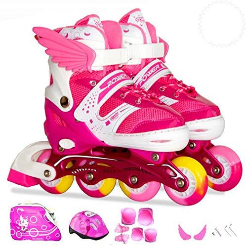 NUO-Z Skates Kinder Verstellbar Sport Freizeit Inline Full Set Kinder Voller Flash-LED-Rollschuhe Einstellbar Freien
