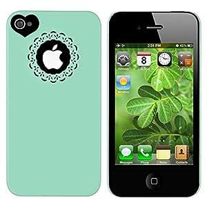 Mintgrün Herz hart Schutz Hülle Tasche Case Schale Etui für Apple iPhone 4 4S