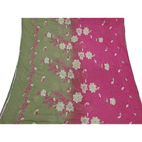 Indiano Vintage Dupatta lunga sciarpa puro chiffon ricamato Wrap Beige Veil Stola