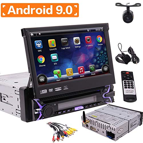 EinCar Android 9.0 Quad Core 7Zoll Touchscreen Abnehmbare Einzel-L?rm Auto Stereo Bluetooth 1 Din DVD Player Radio GPS In Dack Navigation Autoradio 1080p Telefon Spiegel WiFi 4G USB mit Backup-Kamera