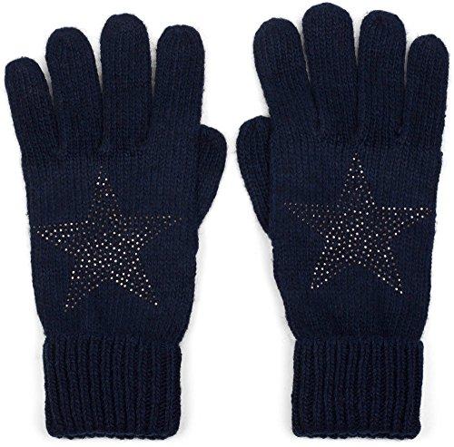 styleBREAKER warme Handschuhe mit Strass Nieten Stern Applikation und doppeltem Bund, Strickhandschuhe, Damen 09010008, Farbe:Midnight-Blue/Dunkelblau