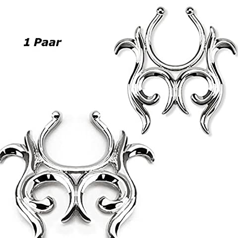 1Pair Stainless Steel Fake Nipple Shield–Clip-on No Piercing Gothic Various