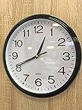 Reloj de pared silencioso (sin tic-tac) de cuarzo, color negro - perfecto como reloj de cocina o de...