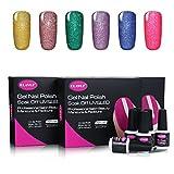 Neon Bling Set8 : CLAVUZ Gel Nail Polish Set Soak Off Nail Varnish 6pcs Neon UV Gel Nail Lacquer Nail Art Gift Kit 8ml