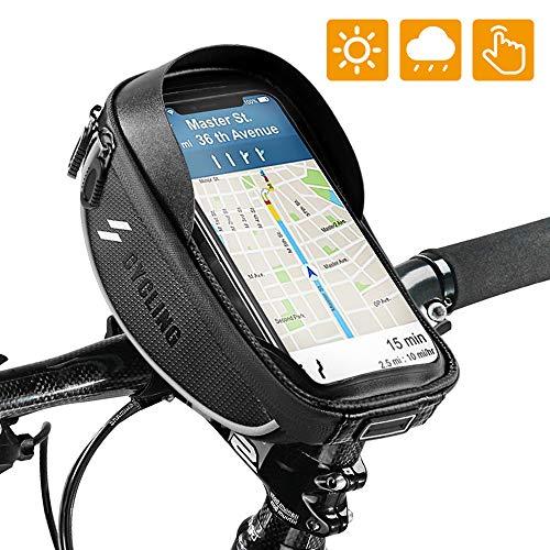 Fahrrad Lenkertasche , omitium Wasserdichter Handyhalterung 360°Drehbarem Fahrrad Rahmentasche Touchschirm Fahrradtasche mit Kopfhörerloch für GPS Navi und andere Edge bis zu 6,0 Zoll Geräte