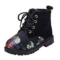 Transer Embroidery Flower Unisex Kids Martin Boots, Toddler Boys Girls Winter School Shoes