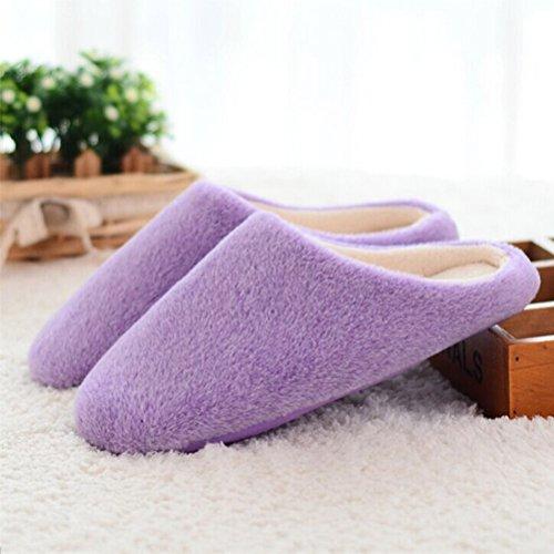 LUOEM Zapatillas de Estar por Casa Mujer Invierno Pantuflas Zapatillas Peluche Algod/ón Suave Morado