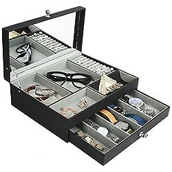 jackcubedesign Multifuncional Caja de joyero de Piel Negro Catch All Bandeja de Valet Organizador Almacenamiento Caso W/Espejo, La Tapa, cajón (Negro, 12,4x 9,6x 4.1Inches) -mk235a