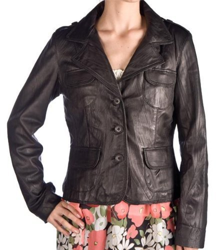 Redskins Nero Monopetto Blazer giacca in pelle effetto stropicciato Nero nero x-large