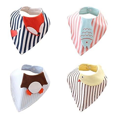 Bébé 100% coton Bavoirs mignon nouveau-né enfants Coton Bandana alimentation Serviette de salive Triangle Lot de 4