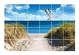 FoLIESEN Fliesenaufkleber für Bad und Küche - Fliesenposter - Motiv- Ostseeküste - Fliesengröße 15x15 cm - Fliesenbild 45x30 cm (LxH)