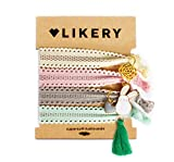 Supersofte Haargummis   Armbänder   Ideales Geschenk   Geschenke für Frauen Kinder Mädchen   Haargummi Anhänger   Armband aus Stoff mit Glitzer und süßen Anhängern   Farbe: Pastelltöne (Springlove)