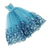 MagiDeal Elegante Trägerlosen Puppe Kleid Prinzessin Abendkleid Partykleid Für Barbie-Puppe Dress up - Blau