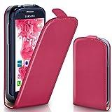 moex Samsung Galaxy S3 Mini | Hülle Pink 360° Klapp-Hülle Etui thin Handytasche Dünn Handyhülle für Samsung Galaxy S3 Mini S III Case Flip Cover Schutzhülle Kunst-Leder Tasche
