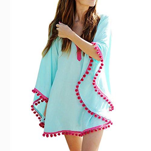 Cardigan Damen Langarm Outdoorjacke Pullover Kimono Outwear Unregelmäßige Langarmshirts Cover Up Strickjacke Blusen Strand Sonnenschutz Blau