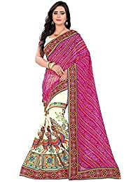 Reeva Trendz Designer Half And Half Pink And Off White Color Bandhani Pallu Saree With Blouse (Women's Clothing...