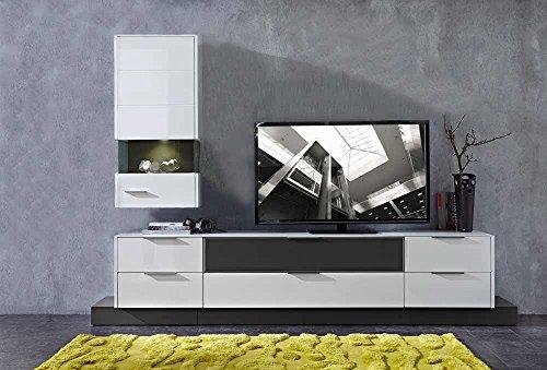 8-tlg. Wohnwand in Hochglanz weiß/grau mit Akustik-Fächern und LED-Beleuchtung, Gesamtmaß B/T ca. 300/51 cm