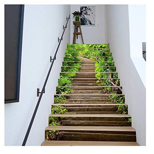 LPLIG 3D Treppenaufkleber, Wasserdicht Und Ölbeständig, Selbstklebend, Wandtattoo Dekoration (Wald 13 Stück)