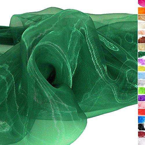 Stück Abgeschnitten Kostüm 3 - TOLKO® Meterware | Organza Dekostoff - Hauch Zart/Durchsichtig als Stoff zum Nähen, Drapieren oder Basteln (Dunkel-Grün)