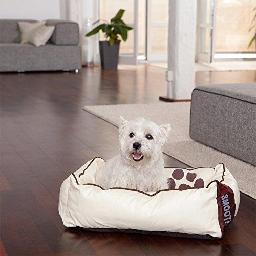 Smoothy Hundekorb aus Leder; Hunde-Körbchen; Hundebett für Luxus Vierbeiner; Beige-Weiß Größe S - 3