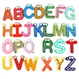 #2: SYGA Wooden 26 English Upper Case (A to Z)Alphabets Stencils Letter Refrigerator Fridge Stickers Toys