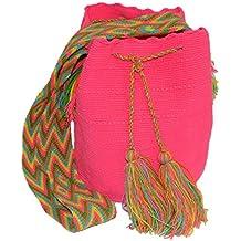 Bolso Colombiano Wayuu Autentico Algodón Salvaje Rosa