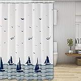 Nasharia Nasharia Duschvorhänge, Waschbar Badvorhänge aus Polyester, Wasserdicht Anti-Schimmel, Anti-Bakteriell mit 12 Duschvorhangringe Design, 180 x 200cm, Ozean