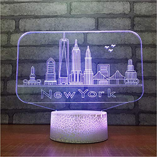 YS753 USB nouveauté Tactile Bouton 7 Couleur Changeante Lampe de Table de Bureau New York City bâtiments modélisation modélisation LED atmosphère lumière Cadeaux 3D