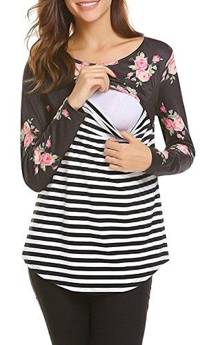 a30d051d0e1 Amazing Speed Women's Maternity Nursing Tops Striped Splicing Long Sleeve  Breastfeeding Shirts,Nursing ...