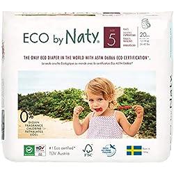 Eco by Naty, Mutandina, Taglia 5, 4 x Pachi da 20 (80 pannolini) 12-18kg, fornitura di UN MESE, Mutandina ecologica premium a base vegetale senza prodotti chimici nocivi.