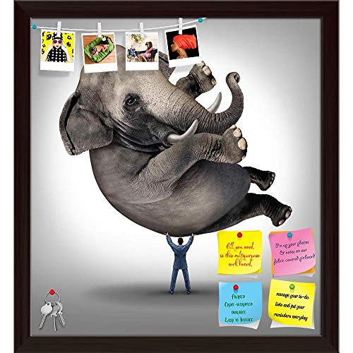 Artzfolio Businessman Lifting A Huge Elephant Printed Bulletin Board Notice Pin Board | Dark Brown Frame 16 X 17.4Inch - Lifting Pin