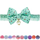 Blueberry Pet Pack of 1 Refreshing Green Polka Dot Breakaway Bowtie Cat Collar Lace Choker Necklace with Handmade Bow Tie and Pearl Charm, Safety Elastic Stretch Collar for Cats, Neck 21.5cm-30cm