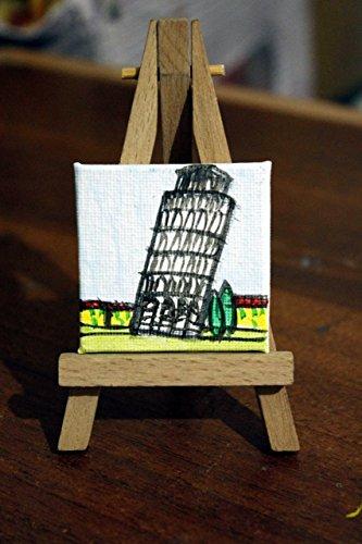 Turm von Pisa mit Magneten + Staffelei holz- großer Leinwand cm 5x5cm von Hand mit Acryl-Farben,...