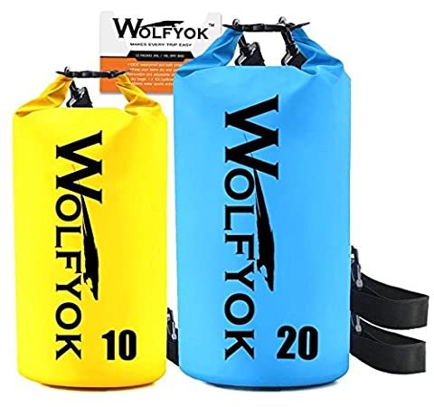 (2 Packs) 20L / 10L Dry Bag - Wolfyok Roll Top Waterproof Floating Duffle Dry Gear Bag with Adjustable Shoulder Straps for Boating / Kayaking / Fishing / Rafting / Camping / Canoeing
