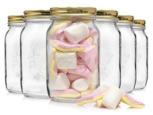 Bormioli Einmachglas Set 6 teilig mit goldenen Deckeln | Füllmenge 1 Liter | Vorratsgläser in Retro Optik zum einlagern von Gewürzen oder Lebensmitteln wie zum Beispiel selbstgemachten Marmeladen (