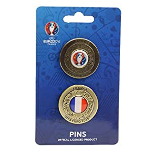 UEFA EURO 2016 – Offizieller Pin 2er-Set Gold Pokal und Frankreich Rund