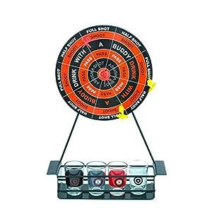 Otro Juego de Beber 617006 Down in One para Adultos con Mini Tablero de Dardos y Vasos de chupito, Color Rojo
