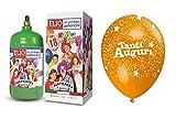 Ballongas Gasflasche 1,2+ 12fliegende Luftballons Herzlichen Glückwunsch Geburtstag bunt sortiert