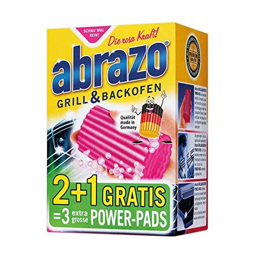 abrazo Grillreiniger & Backofen-Reiniger Reinigungs-Schwamm für Grill & Küche, verseifte Topfreiniger Pads 2+1 Gratis -