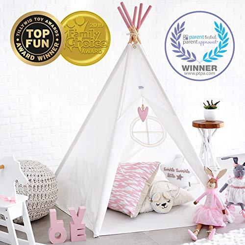 Hippococo Faltbares Tipi Spiel-Zelt für Kinder | Großes verstärktes Spielhaus für Draußen und Drinnen, inkl. gratis E-Book (Rosa)