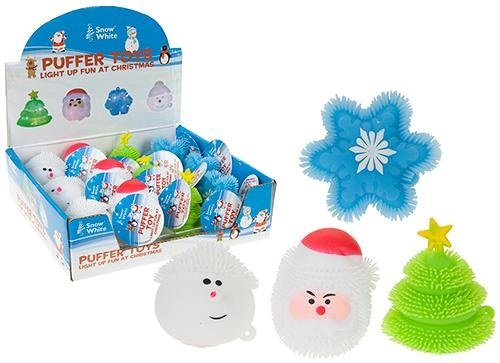 Pack Of 4 - Light Up Christmas Puffer Toys - Stocking Fillers - Christmas Party Bags