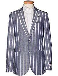 Blue and White striped Linen Cotton Henley Regatta Boating Blazer Jacket 40 42 4