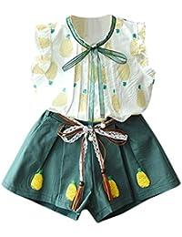19786c8ef Conjuntos para Niñas 2019 Verano Primavera PAOLIAN Camisetas Sin Manga +  Pantalone Corto Casual Fiestas Ropa Tirantes para Bebe…