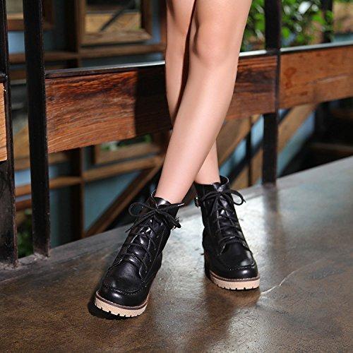 &ZHOU Bottes d'automne et d'hiver Bottes courtes pour femmes adultes Martin bottes bottes Chevalier A4-7 Black