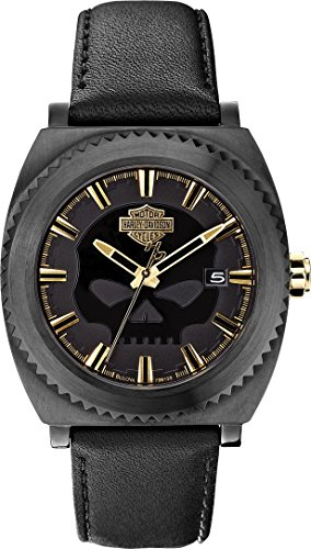 Harley Davidson Men's Quartz Watch with Black Dial Analogue Display and Black Leather Strap 78B129