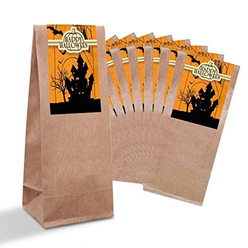 iertüten Gebäcktüten mit Pergamin-Einlage (7 x 4 x 205 cm) und 10 Aufkleber Sticker HALLOWEEN Spukschloss Geister GRUSEL schwarz weiß Verpackung Geschenk Kinder Süßes (Halloween-lebensmittel Süße)