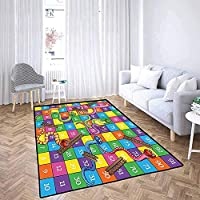 LAURE Area Rug Area Mat Carpet Board Game Cute Snakes Smiling Faces Numbers in Squares Ladders Childrens Kids Play Print Multicolor