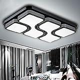 ETiME 64W 78x53CM Design LED Deckenlampe Deckenleuchte Wohnzimmer Lampe Schlafzimmer Küche Leuchte 6000K Schwarz Rechteck (78x53CM 64W Kaltweiß)