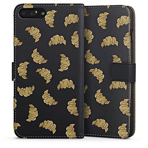 Apple iPhone 6 Plus Silikon Hülle Case Schutzhülle Croissant Muster Essen Sideflip Tasche schwarz