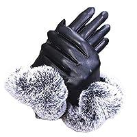 KLKL Women Thickening Winter Gloves Warm Thicken Elegant Leather Faux Fur Wrist Warm